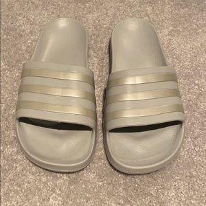 Grey/Silver Adidas Slides